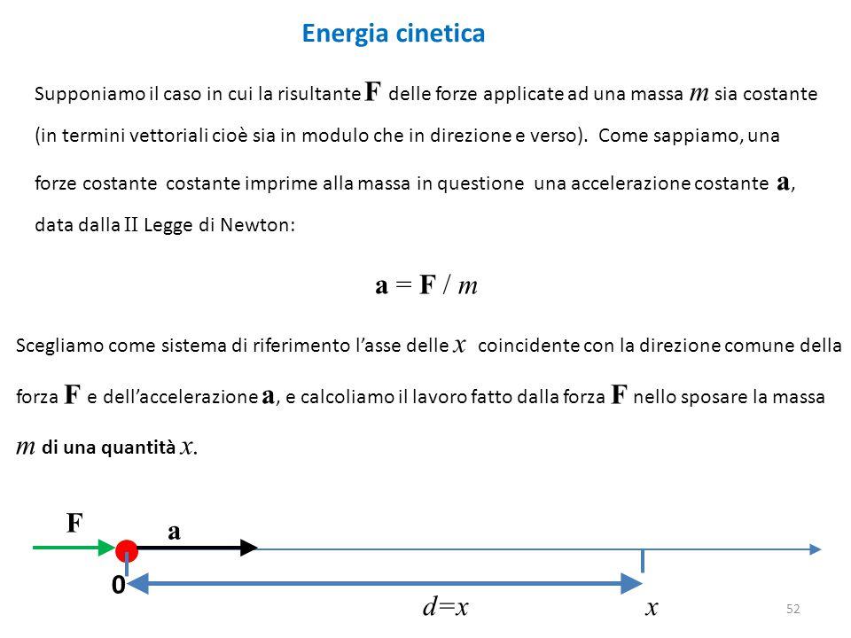 Energia cinetica Supponiamo il caso in cui la risultante F delle forze applicate ad una massa m sia costante (in termini vettoriali cioè sia in modulo che in direzione e verso).