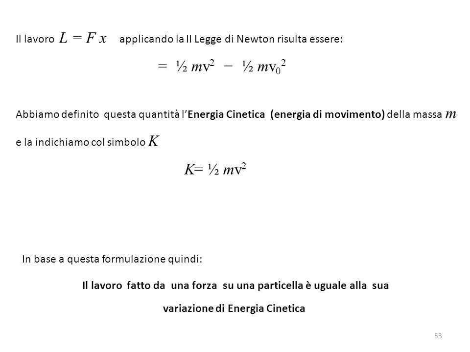 Il lavoro L = F x applicando la II Legge di Newton risulta essere: = ½ mv 2 − ½ mv 0 2 Abbiamo definito questa quantità l'Energia Cinetica (energia di movimento) della massa m e la indichiamo col simbolo K K= ½ mv 2 In base a questa formulazione quindi: Il lavoro fatto da una forza su una particella è uguale alla sua variazione di Energia Cinetica 53