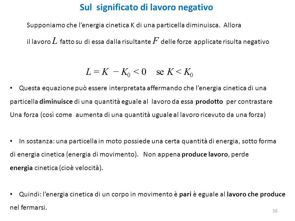Sul significato di lavoro negativo Supponiamo che l'energia cinetica K di una particella diminuisca.