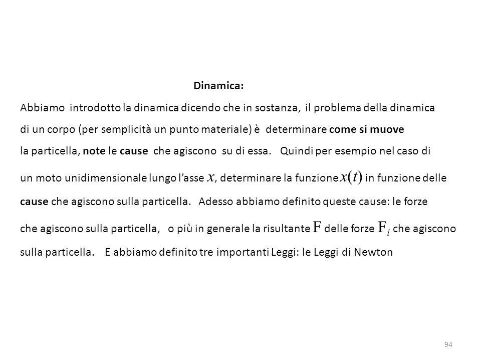 94 Dinamica: Abbiamo introdotto la dinamica dicendo che in sostanza, il problema della dinamica di un corpo (per semplicità un punto materiale) è determinare come si muove la particella, note le cause che agiscono su di essa.