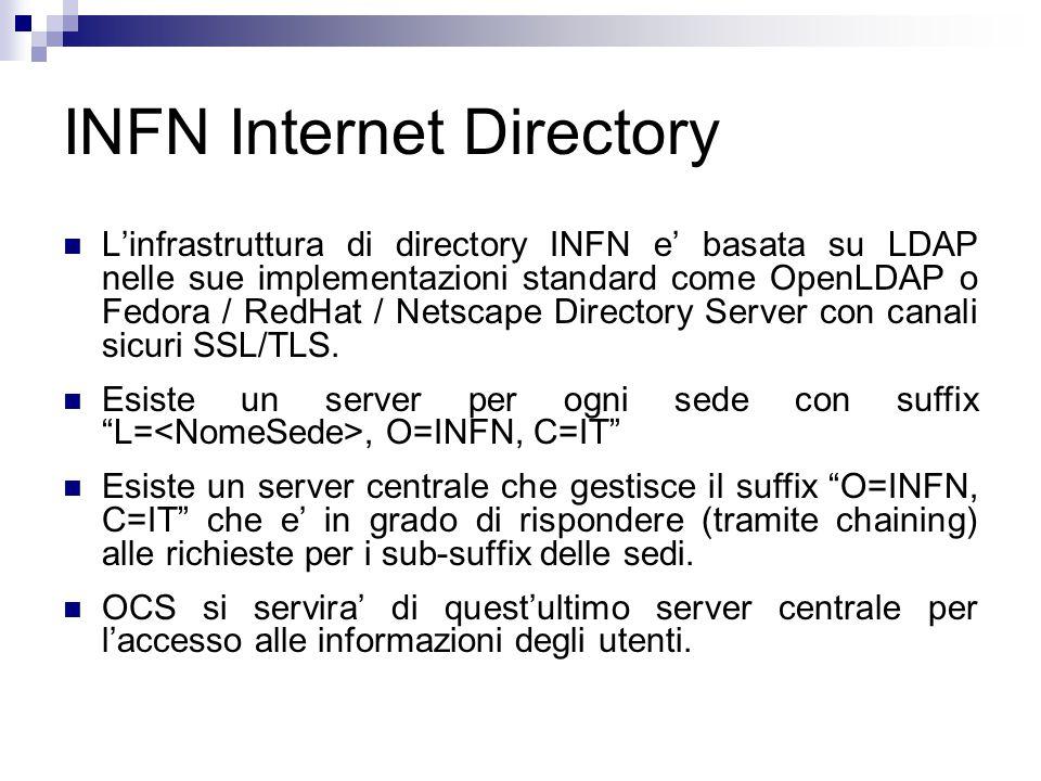 INFN Authentication L'infrastruttura di autenticazione dell'INFN e' basata su MIT Kerberos5 Esiste un server Kerberos5 per ogni sede che gestisca un realm.INFN.IT Esiste inoltre un server centrale che gestisce un realm INFN.IT Tra i realm sono definite relazioni gerarchiche di trust bidirezionali e transitive