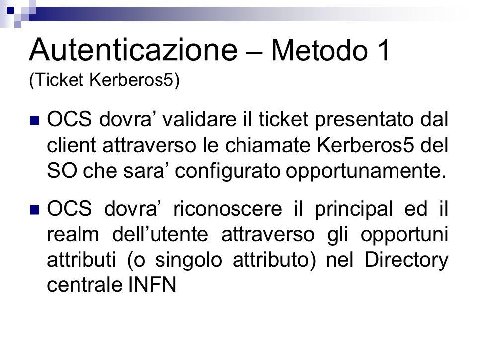 O=INFN, C=IT L=LNF, O=INFN, C=IT krb5: LNF.INFN.IT Frascati OCS LDAPs user information Kerberos5 authentication krb5: LE.INFN.IT Lecce L=Lecce, O=INFN, C=IT Autenticazione m.1 (Ticket Kerberos5) Client presentazione di ticket Kerberos5 Roma1 krb5: ROMA1.INFN.IT L=Roma1, O=INFN, C=IT L=Napoli, O=INFN, C=IT krb5: NA.INFN.IT Napoli Keytab Kerberos5