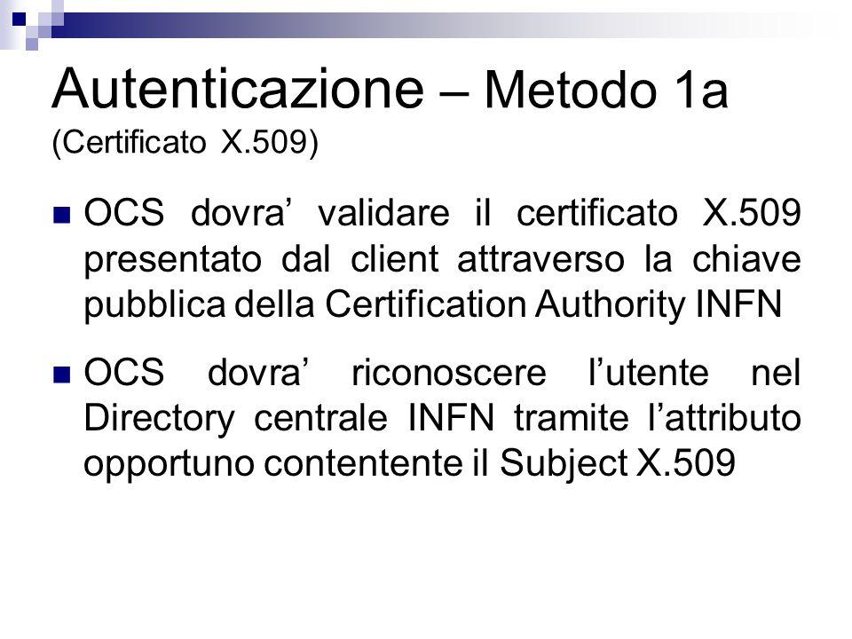 Autenticazione – Metodo 1a (Certificato X.509) OCS dovra' validare il certificato X.509 presentato dal client attraverso la chiave pubblica della Certification Authority INFN OCS dovra' riconoscere l'utente nel Directory centrale INFN tramite l'attributo opportuno contentente il Subject X.509