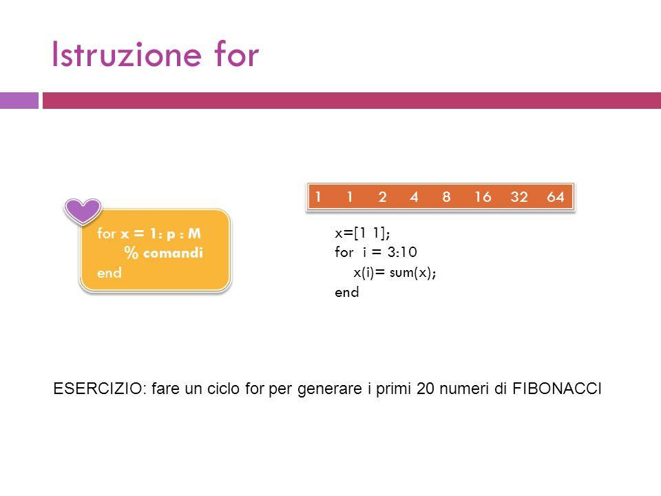 Istruzione for for x = 1: p : M % comandi end x=[1 1]; for i = 3:10 x(i)= sum(x); end 1 1 2 4 8 16 32 64 ESERCIZIO: fare un ciclo for per generare i primi 20 numeri di FIBONACCI