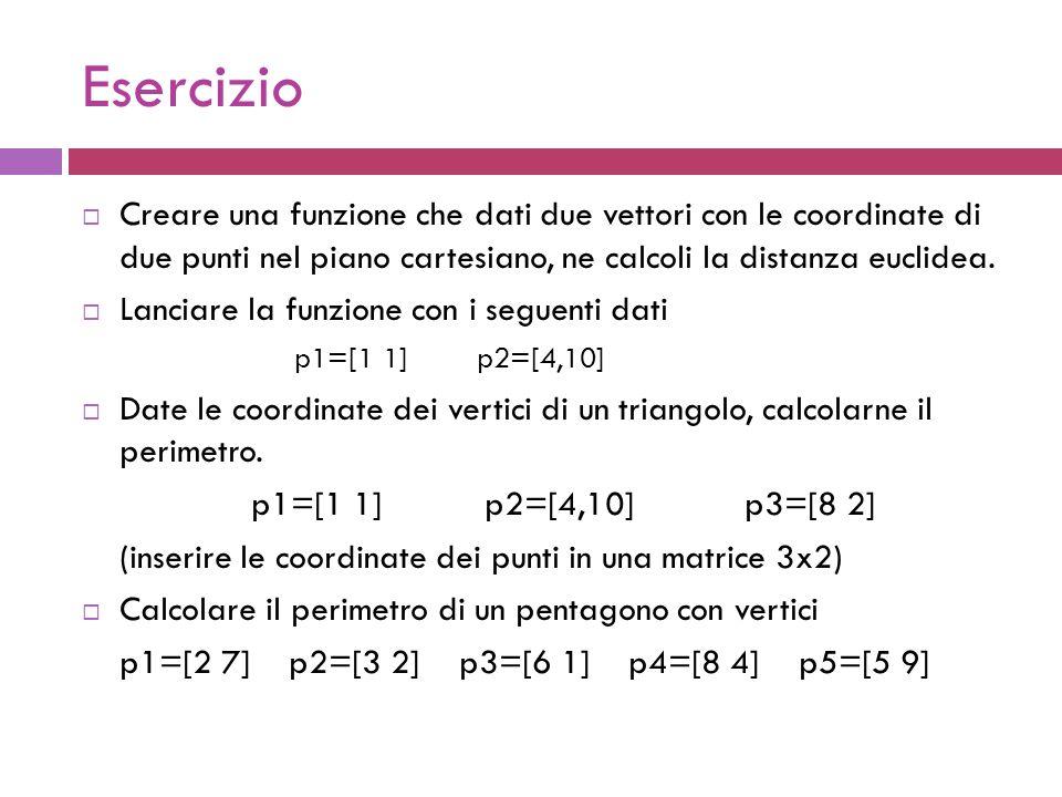 Esercizio  Creare una funzione che dati due vettori con le coordinate di due punti nel piano cartesiano, ne calcoli la distanza euclidea.