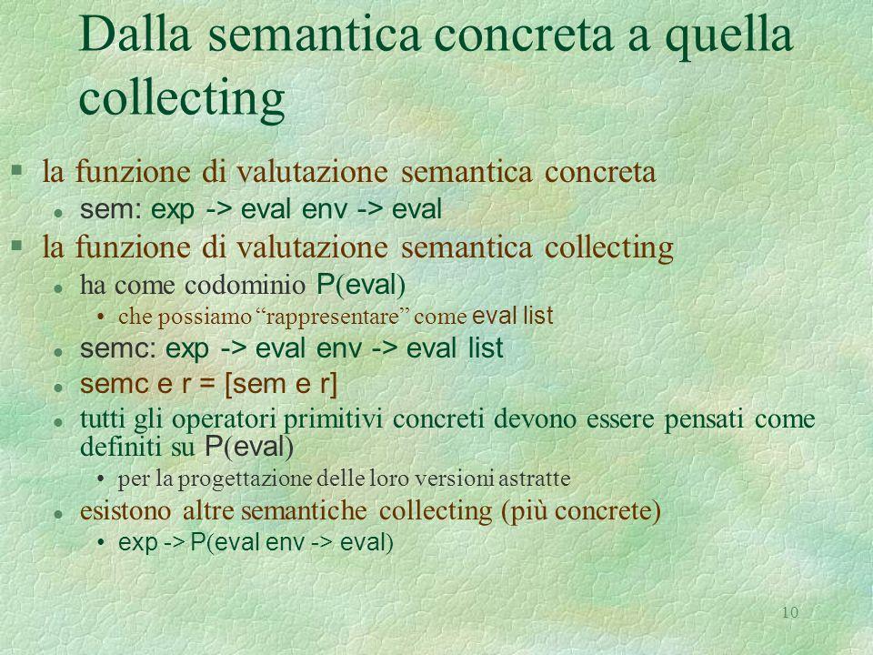 10 Dalla semantica concreta a quella collecting §la funzione di valutazione semantica concreta sem: exp -> eval env -> eval §la funzione di valutazion