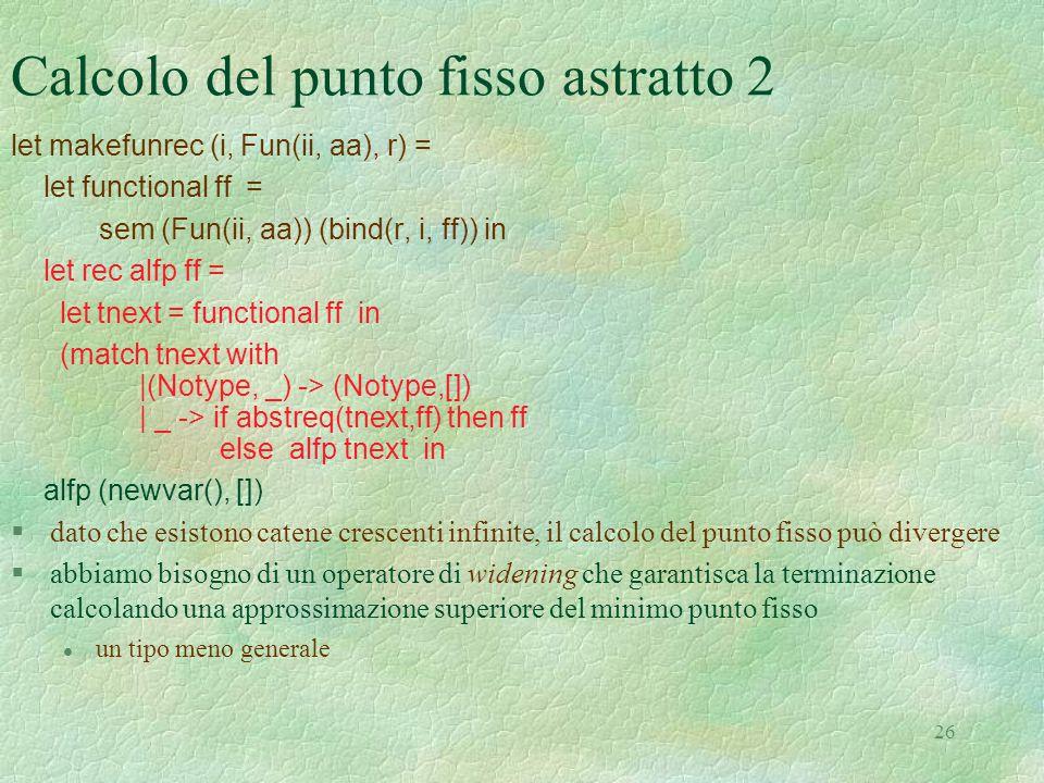 26 Calcolo del punto fisso astratto 2 let makefunrec (i, Fun(ii, aa), r) = let functional ff = sem (Fun(ii, aa)) (bind(r, i, ff)) in let rec alfp ff =