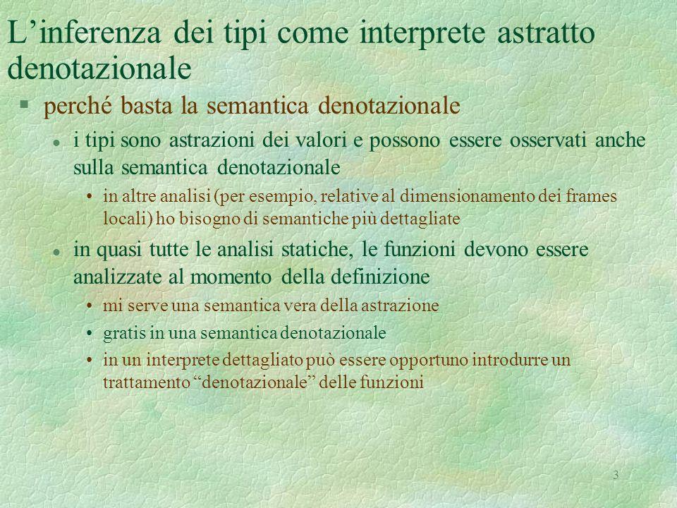 3 L'inferenza dei tipi come interprete astratto denotazionale §perché basta la semantica denotazionale l i tipi sono astrazioni dei valori e possono e