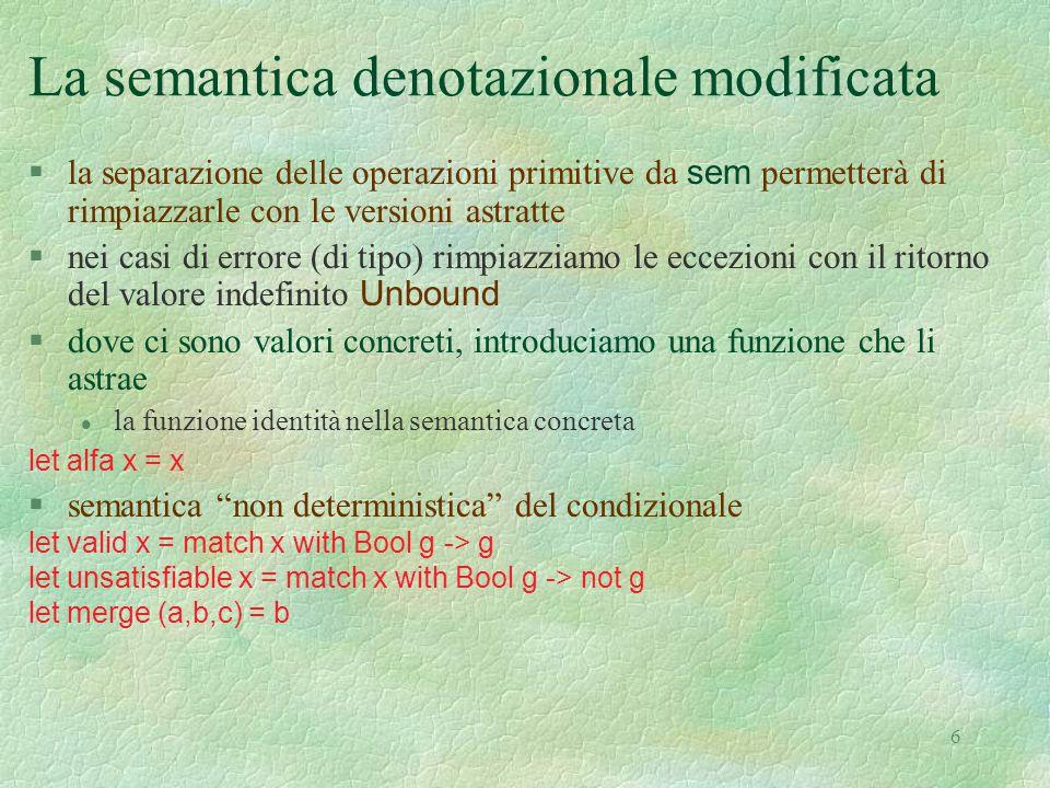 7 Il dominio concreto  ricordiamo la struttura del dominio concreto eval type eval = Int of int | Bool of bool | Unbound | Funval of efun and efun = eval -> eval §una operazione primitiva let plus (x,y) = match (x,y) with |(Int nx, Int ny) -> Int(nx + ny) | _ -> Unbound