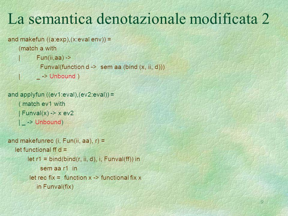 9 La semantica denotazionale modificata 2 and makefun ((a:exp),(x:eval env)) = (match a with |Fun(ii,aa) -> Funval(function d -> sem aa (bind (x, ii,