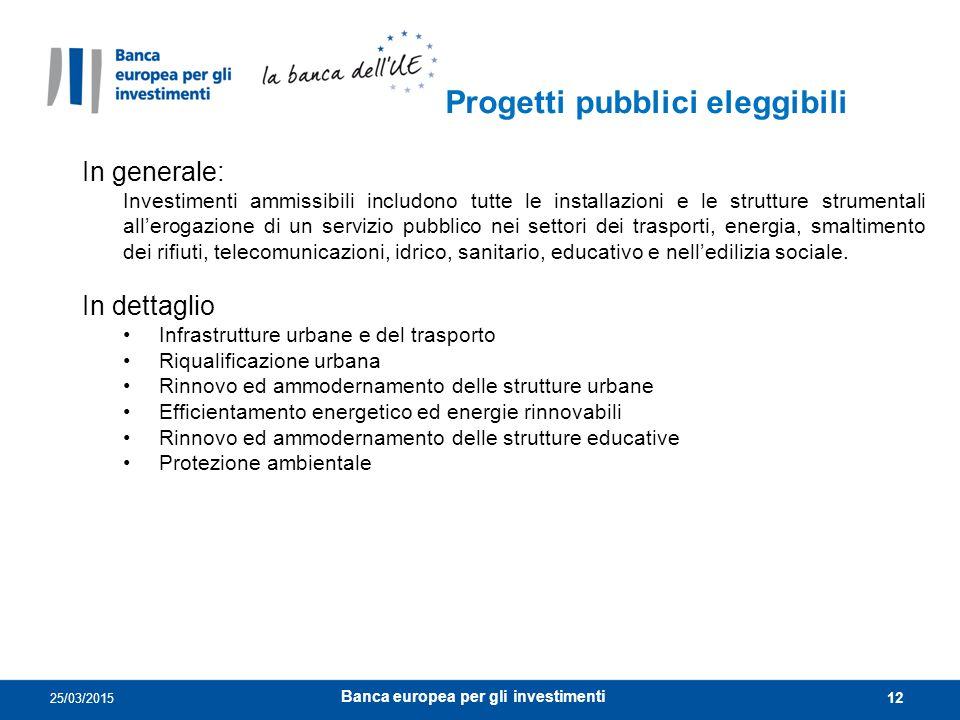 12 Progetti pubblici eleggibili 25/03/2015 In generale: Investimenti ammissibili includono tutte le installazioni e le strutture strumentali all'eroga