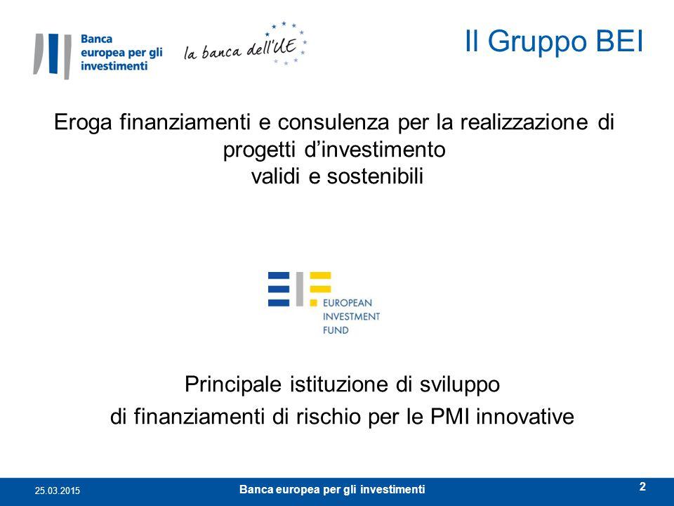 Il Gruppo BEI 25.03.2015 2 Principale istituzione di sviluppo di finanziamenti di rischio per le PMI innovative Eroga finanziamenti e consulenza per l