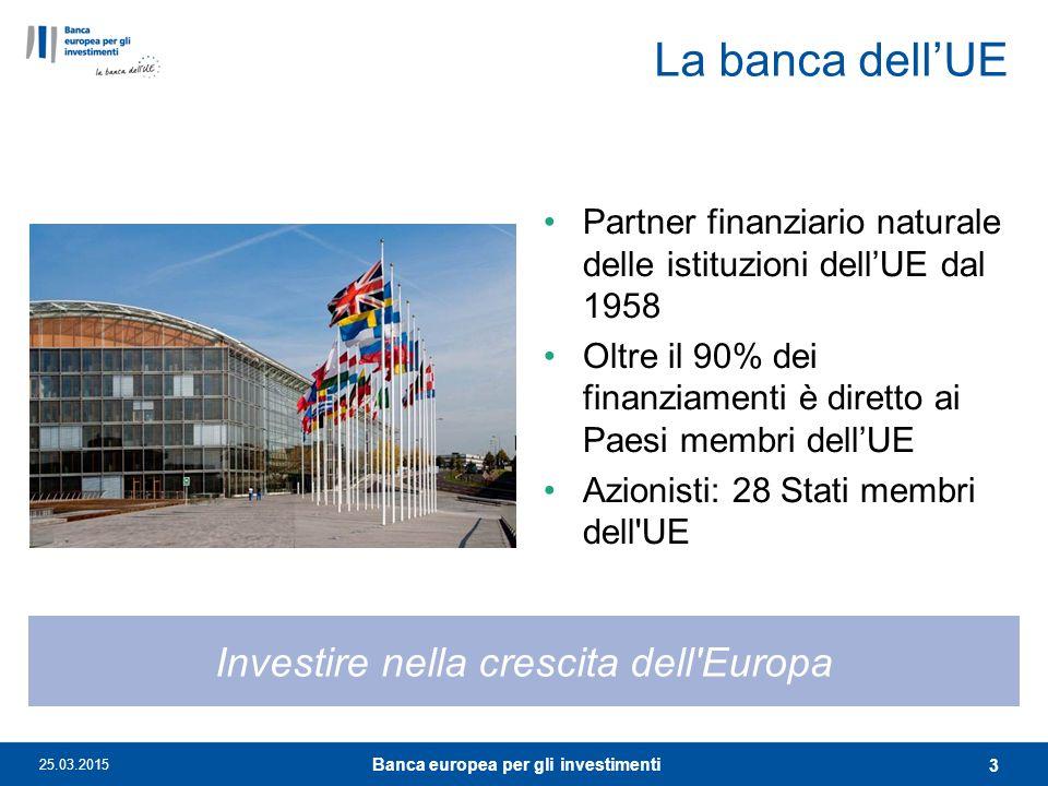 La banca dell'UE Partner finanziario naturale delle istituzioni dell'UE dal 1958 Oltre il 90% dei finanziamenti è diretto ai Paesi membri dell'UE Azio