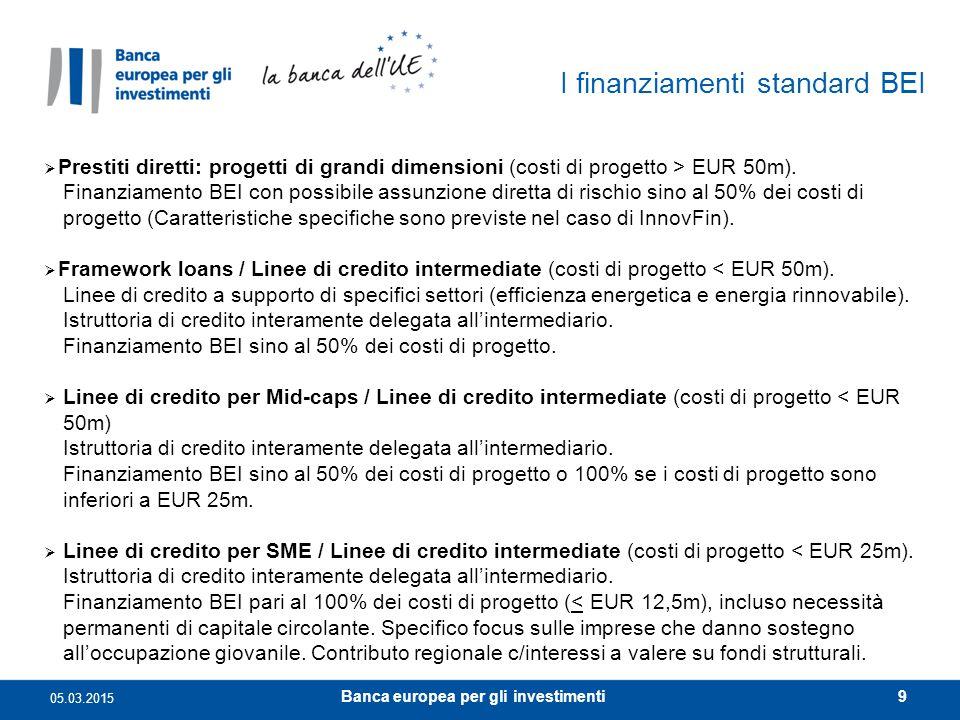I finanziamenti standard BEI  Prestiti diretti: progetti di grandi dimensioni (costi di progetto > EUR 50m). Finanziamento BEI con possibile assunzio