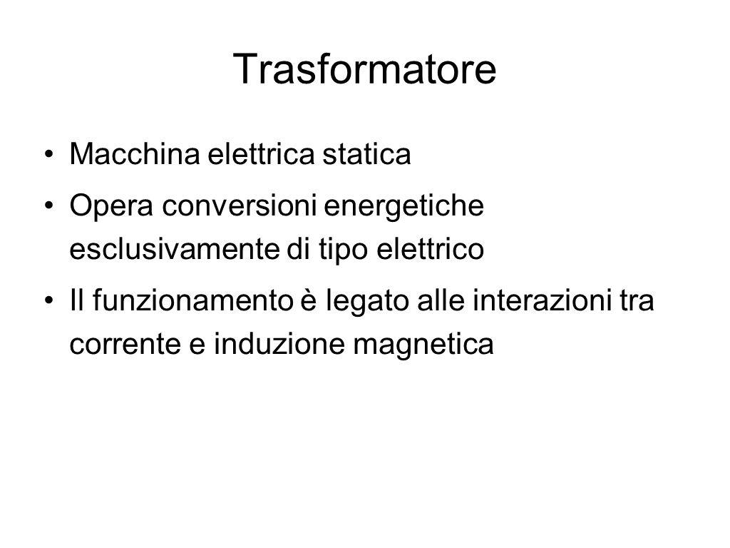 Trasformatore Macchina elettrica statica Opera conversioni energetiche esclusivamente di tipo elettrico Il funzionamento è legato alle interazioni tra