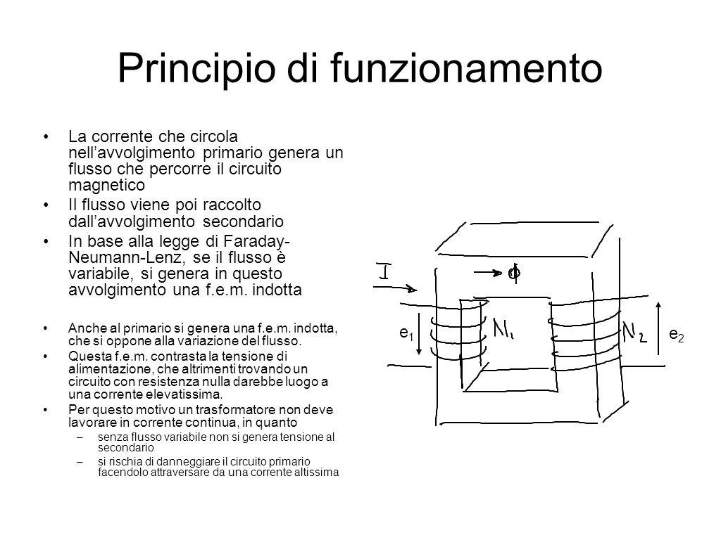 Principio di funzionamento La corrente che circola nell'avvolgimento primario genera un flusso che percorre il circuito magnetico Il flusso viene poi