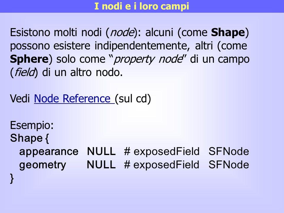 """I nodi e i loro campi Esistono molti nodi (node): alcuni (come Shape) possono esistere indipendentemente, altri (come Sphere) solo come """"property node"""