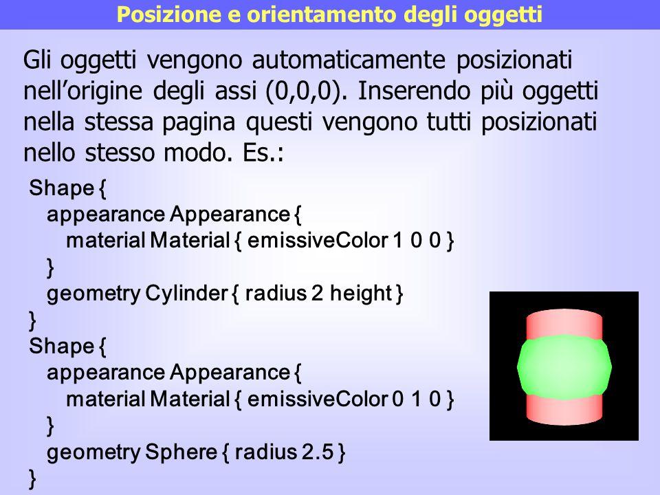 Posizione e orientamento degli oggetti Gli oggetti vengono automaticamente posizionati nell'origine degli assi (0,0,0). Inserendo più oggetti nella st
