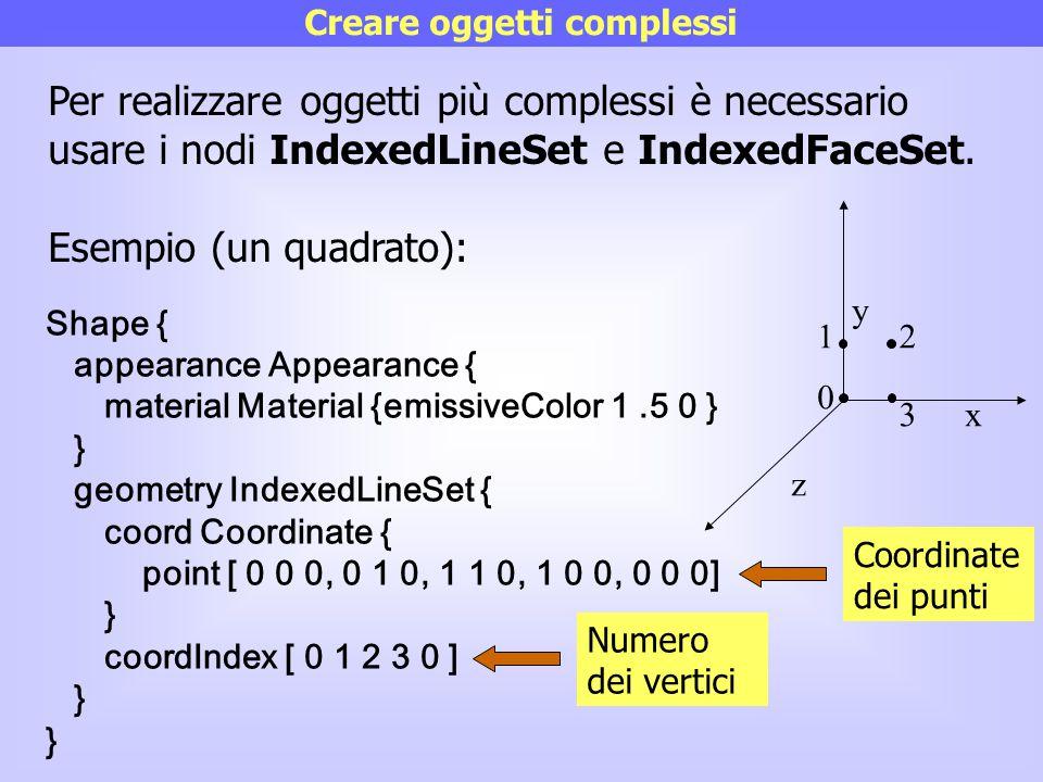 Creare oggetti complessi Per realizzare oggetti più complessi è necessario usare i nodi IndexedLineSet e IndexedFaceSet. Esempio (un quadrato): Shape