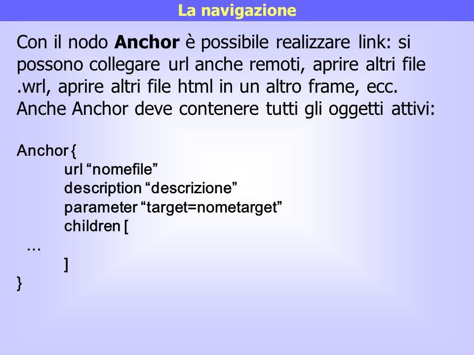 La navigazione Con il nodo Anchor è possibile realizzare link: si possono collegare url anche remoti, aprire altri file.wrl, aprire altri file html in