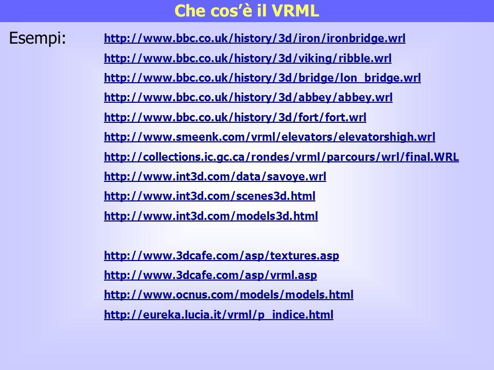 Che cos'è il VRML http://www.bbc.co.uk/history/3d/iron/ironbridge.wrl http://www.bbc.co.uk/history/3d/viking/ribble.wrl http://www.bbc.co.uk/history/3