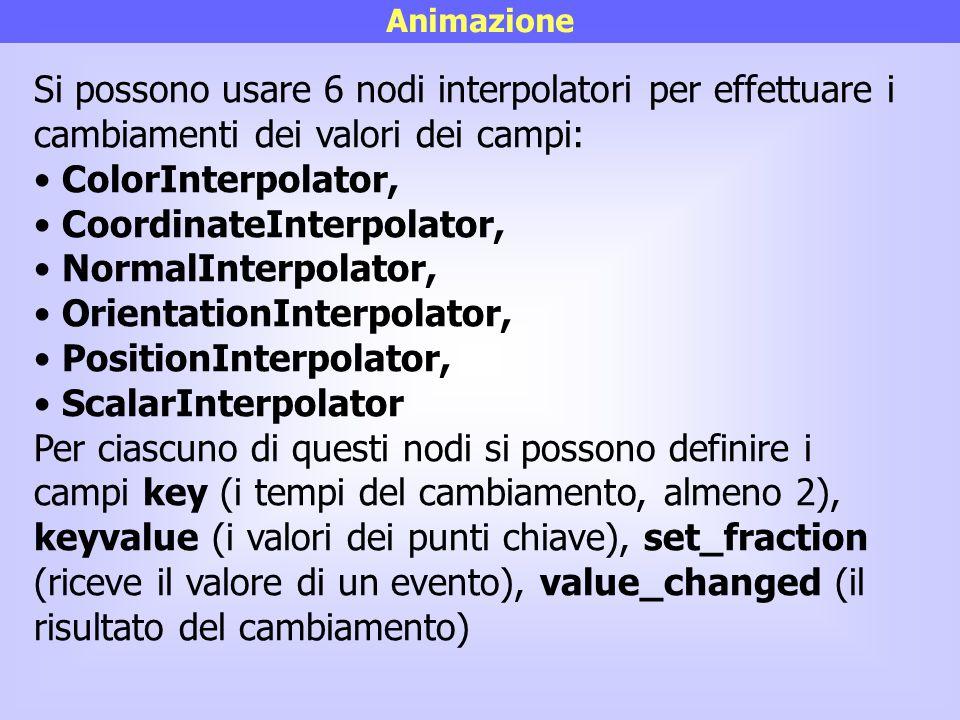 Animazione Si possono usare 6 nodi interpolatori per effettuare i cambiamenti dei valori dei campi: ColorInterpolator, CoordinateInterpolator, NormalI