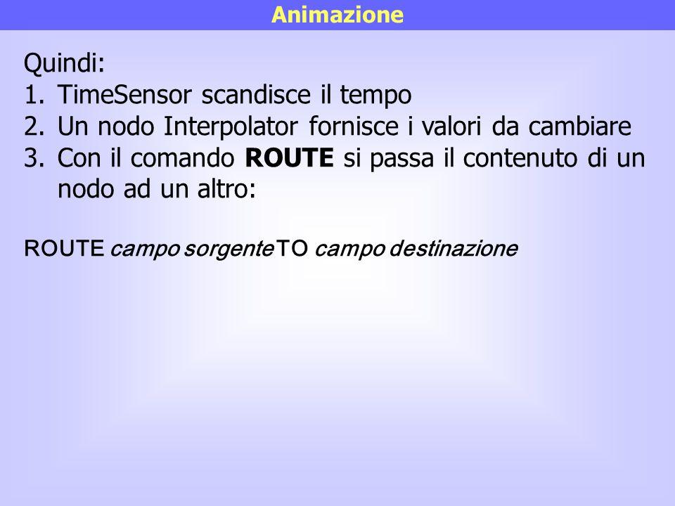 Animazione Quindi: 1.TimeSensor scandisce il tempo 2.Un nodo Interpolator fornisce i valori da cambiare 3.Con il comando ROUTE si passa il contenuto d