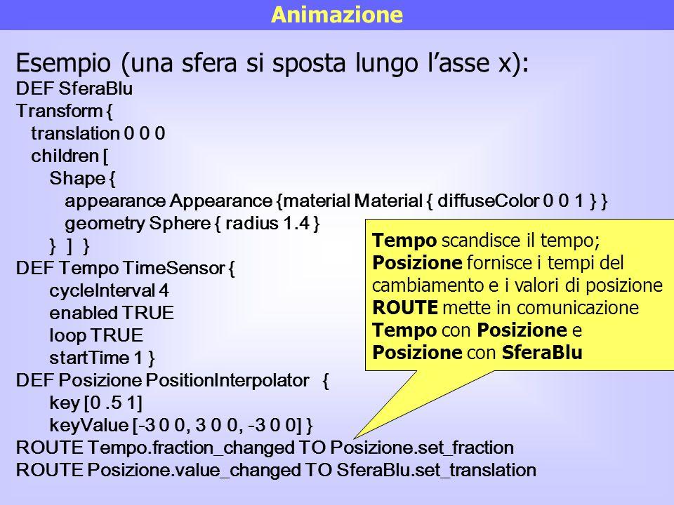Animazione Esempio (una sfera si sposta lungo l'asse x): DEF SferaBlu Transform { translation 0 0 0 children [ Shape { appearance Appearance {material