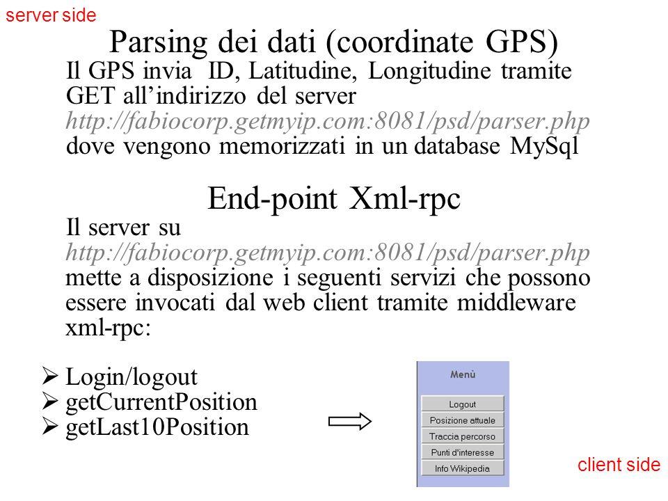 Parsing dei dati (coordinate GPS) Il GPS invia ID, Latitudine, Longitudine tramite GET all'indirizzo del server http://fabiocorp.getmyip.com:8081/psd/