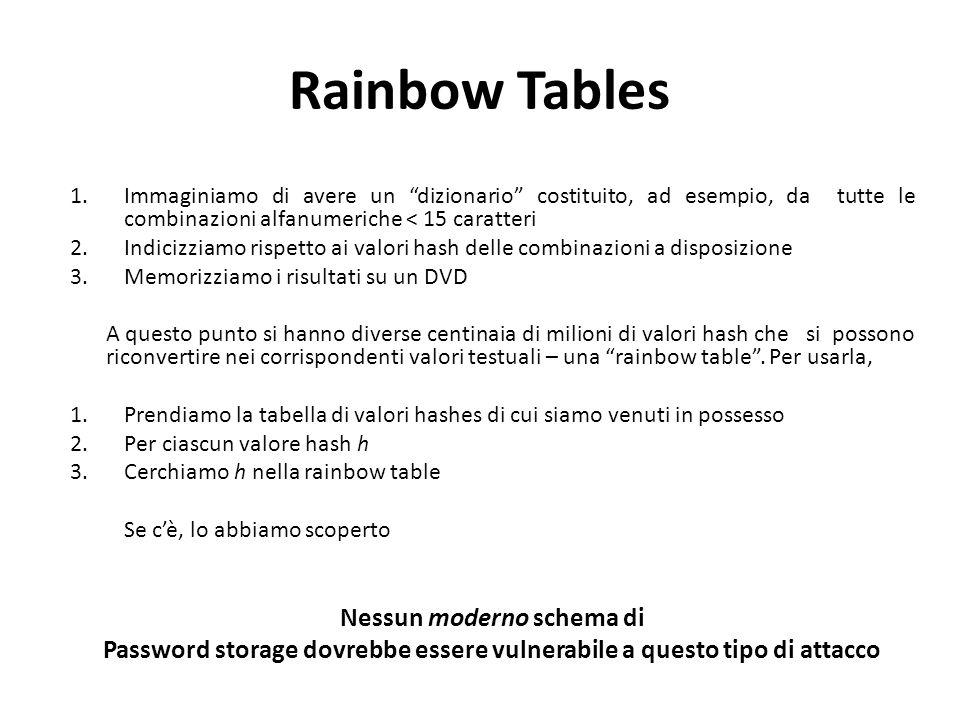 Rainbow Tables 1.Immaginiamo di avere un dizionario costituito, ad esempio, da tutte le combinazioni alfanumeriche < 15 caratteri 2.Indicizziamo rispetto ai valori hash delle combinazioni a disposizione 3.Memorizziamo i risultati su un DVD A questo punto si hanno diverse centinaia di milioni di valori hash che si possono riconvertire nei corrispondenti valori testuali – una rainbow table .