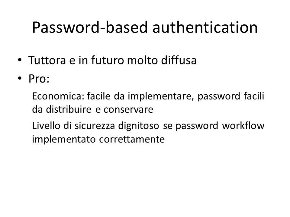Password-based authentication Tuttora e in futuro molto diffusa Pro: Economica: facile da implementare, password facili da distribuire e conservare Livello di sicurezza dignitoso se password workflow implementato correttamente