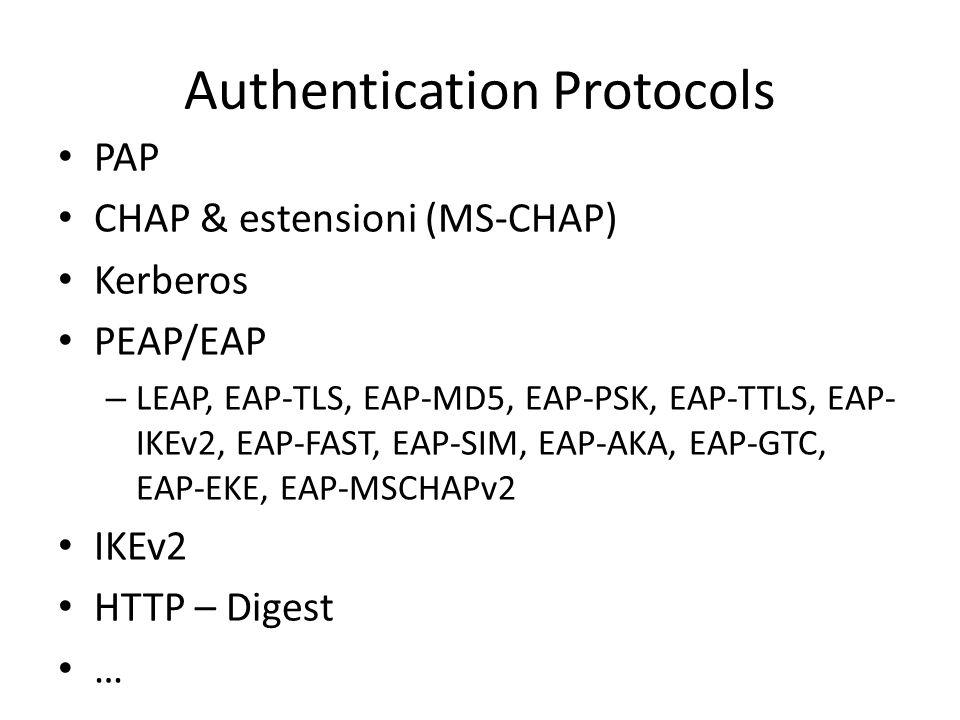 Authentication Protocols PAP CHAP & estensioni (MS-CHAP) Kerberos PEAP/EAP – LEAP, EAP-TLS, EAP-MD5, EAP-PSK, EAP-TTLS, EAP- IKEv2, EAP-FAST, EAP-SIM, EAP-AKA, EAP-GTC, EAP-EKE, EAP-MSCHAPv2 IKEv2 HTTP – Digest …