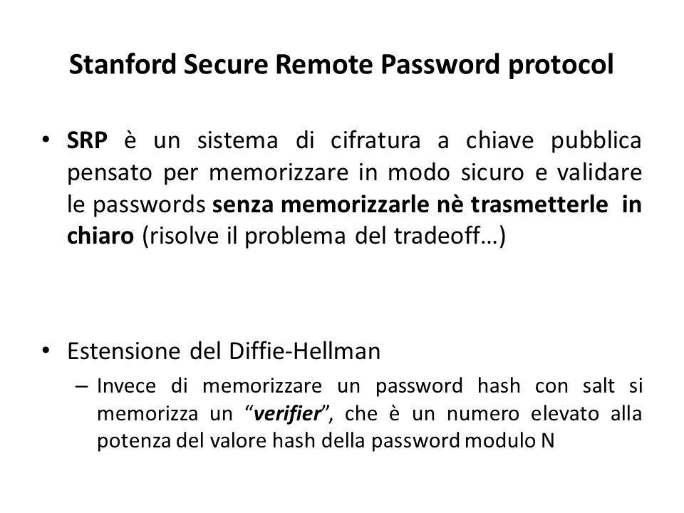 Stanford Secure Remote Password protocol SRP è un sistema di cifratura a chiave pubblica pensato per memorizzare in modo sicuro e validare le passwords senza memorizzarle nè trasmetterle in chiaro (risolve il problema del tradeoff…) Estensione del Diffie-Hellman – Invece di memorizzare un password hash con salt si memorizza un verifier , che è un numero elevato alla potenza del valore hash della password modulo N