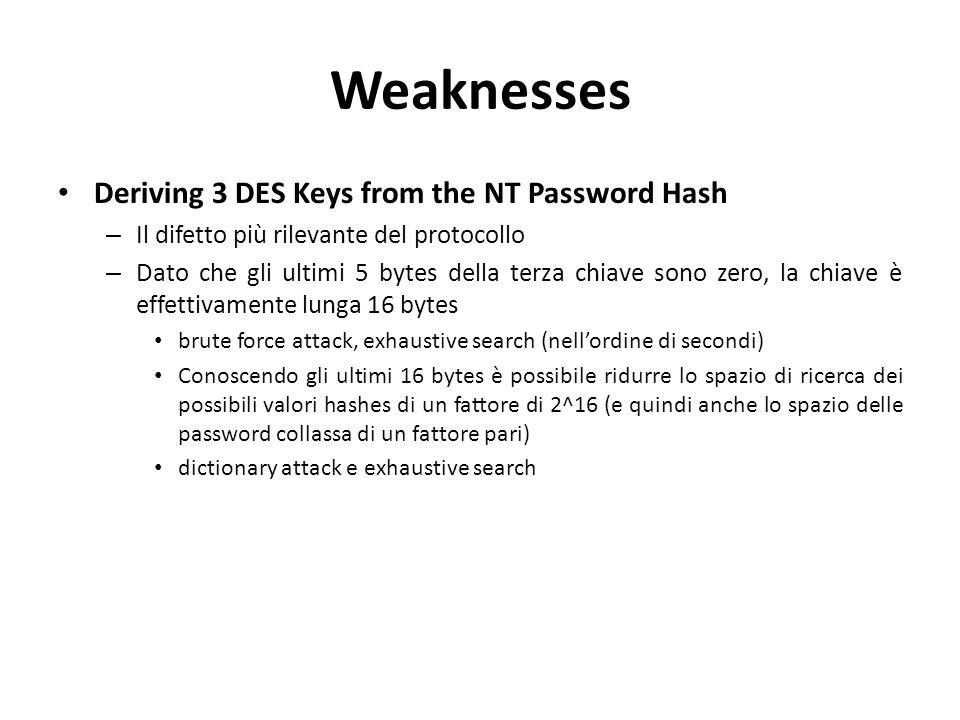 Weaknesses Deriving 3 DES Keys from the NT Password Hash – Il difetto più rilevante del protocollo – Dato che gli ultimi 5 bytes della terza chiave sono zero, la chiave è effettivamente lunga 16 bytes brute force attack, exhaustive search (nell'ordine di secondi) Conoscendo gli ultimi 16 bytes è possibile ridurre lo spazio di ricerca dei possibili valori hashes di un fattore di 2^16 (e quindi anche lo spazio delle password collassa di un fattore pari) dictionary attack e exhaustive search