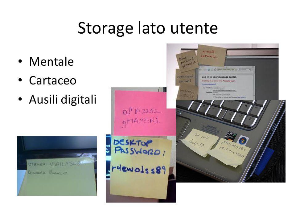 Storage lato utente Mentale Cartaceo Ausili digitali