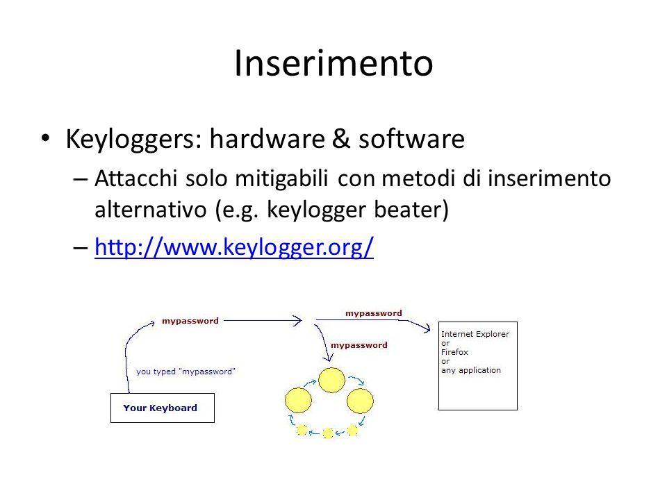 Inserimento Keyloggers: hardware & software – Attacchi solo mitigabili con metodi di inserimento alternativo (e.g.