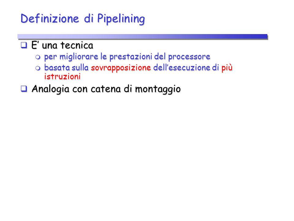 Idea base  Il lavoro svolto da un processore con pipelining per eseguire un'istruzione è diviso in passi (stadi della pipeline), che richiedono una frazione del tempo necessario all'esecuzione dell'intera istruzione  Gli stadi sono connessi in maniera seriale per formare la pipeline  Le istruzioni:  entrano da un'estremità della pipeline  vengono elaborate dai vari stadi secondo l'ordine previsto  escono dall'altra estremità della pipeline S1S1 SkSk S2S2 … Ingresso Uscita