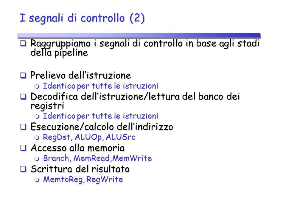 I segnali di controllo (2)  Raggruppiamo i segnali di controllo in base agli stadi della pipeline  Prelievo dell'istruzione  Identico per tutte le
