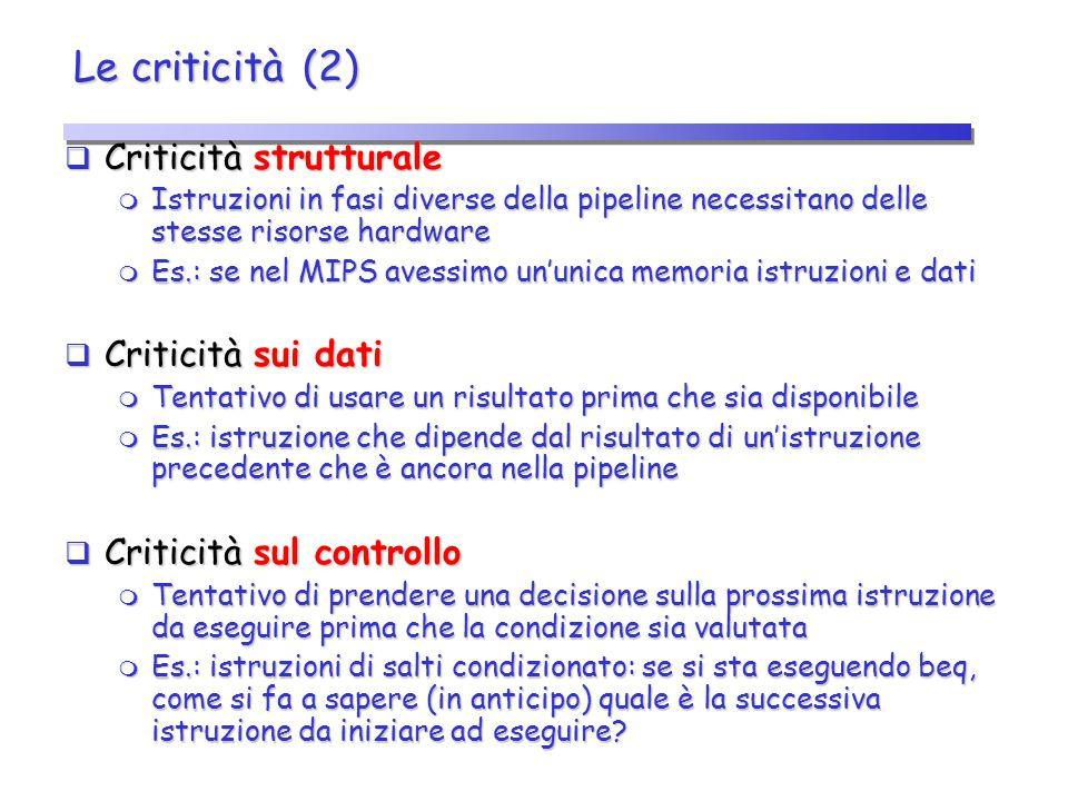 Le criticità (2)  Criticità strutturale  Istruzioni in fasi diverse della pipeline necessitano delle stesse risorse hardware  Es.: se nel MIPS aves