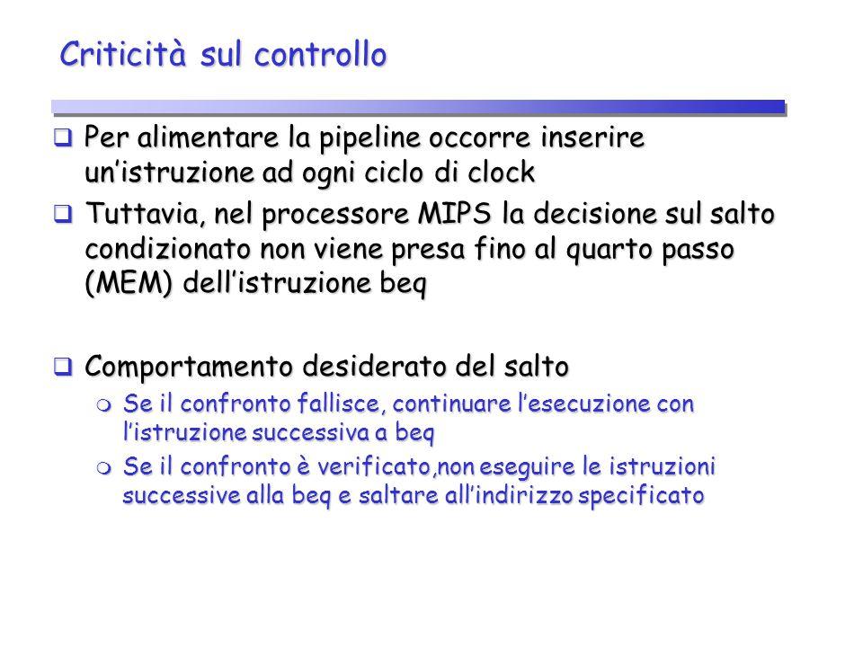 Criticità sul controllo  Per alimentare la pipeline occorre inserire un'istruzione ad ogni ciclo di clock  Tuttavia, nel processore MIPS la decision