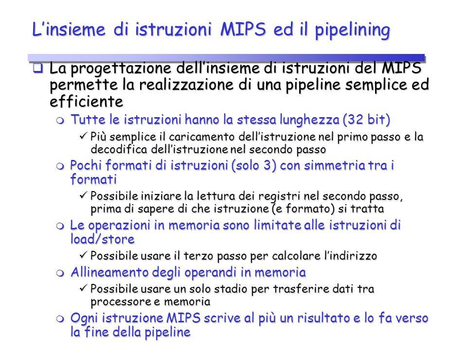 L'insieme di istruzioni MIPS ed il pipelining  La progettazione dell'insieme di istruzioni del MIPS permette la realizzazione di una pipeline semplic