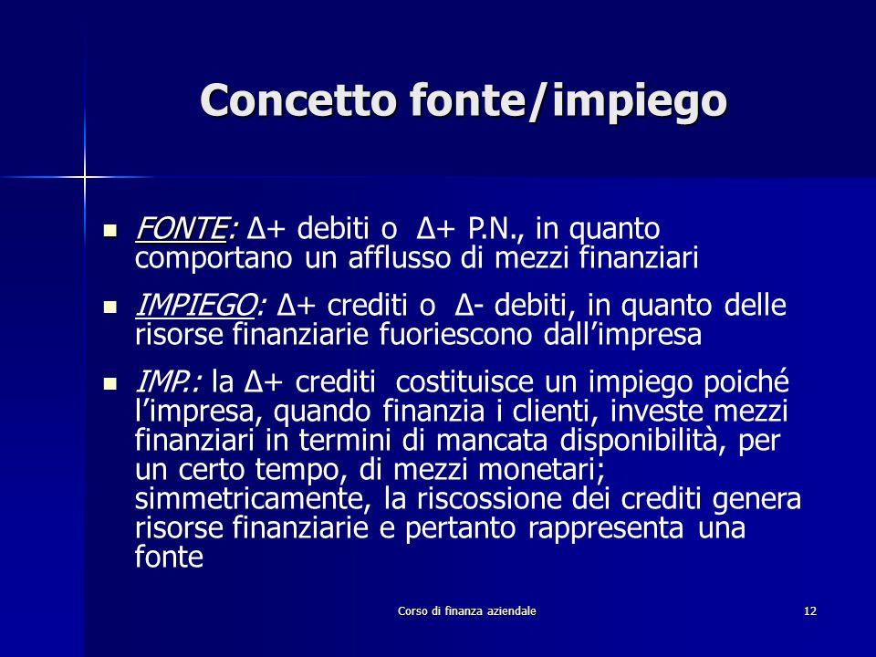 Corso di finanza aziendale12 Concetto fonte/impiego FONTE: FONTE: ∆+ debiti o ∆+ P.N., in quanto comportano un afflusso di mezzi finanziari IMPIEGO: ∆