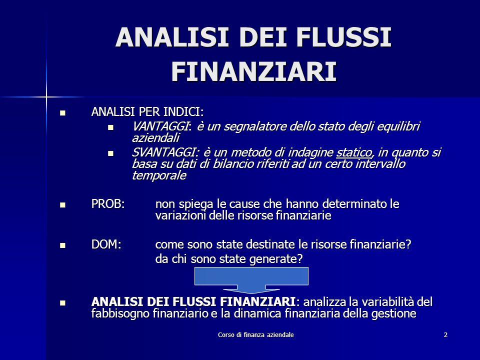Corso di finanza aziendale2 ANALISI DEI FLUSSI FINANZIARI ANALISI PER INDICI: ANALISI PER INDICI: VANTAGGI: è un segnalatore dello stato degli equilib