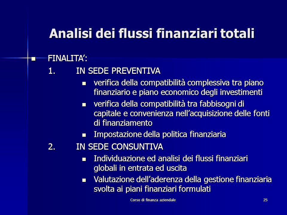 Corso di finanza aziendale25 Analisi dei flussi finanziari totali FINALITA': FINALITA': 1.IN SEDE PREVENTIVA verifica della compatibilità complessiva