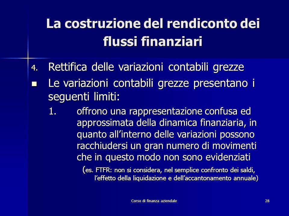 Corso di finanza aziendale28 La costruzione del rendiconto dei flussi finanziari 4. Rettifica delle variazioni contabili grezze Le variazioni contabil