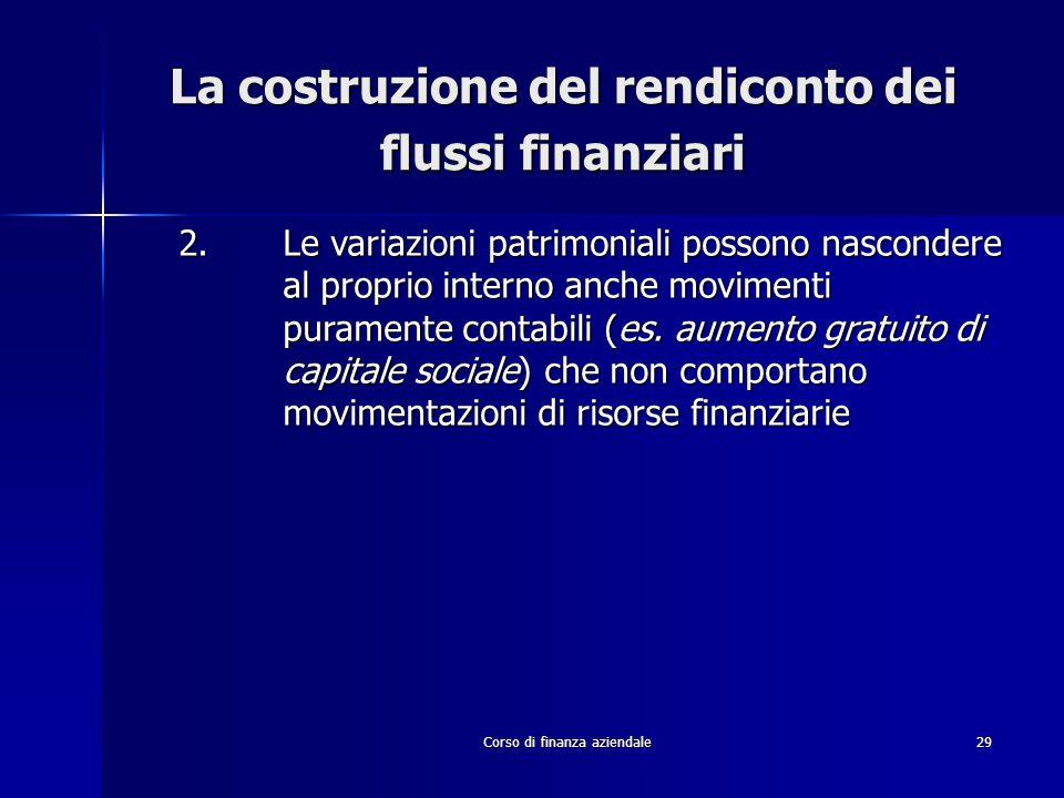Corso di finanza aziendale29 La costruzione del rendiconto dei flussi finanziari 2.Le variazioni patrimoniali possono nascondere al proprio interno an
