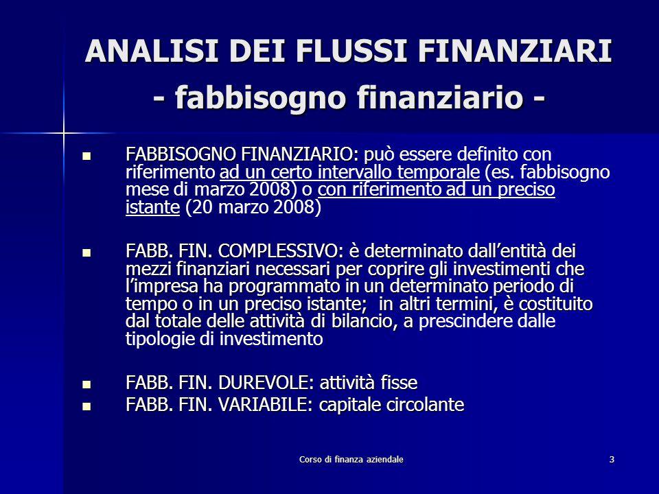 Corso di finanza aziendale3 ANALISI DEI FLUSSI FINANZIARI - fabbisogno finanziario - FABBISOGNO FINANZIARIO: p FABBISOGNO FINANZIARIO: può essere defi