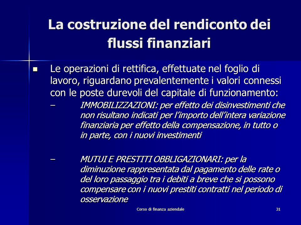 Corso di finanza aziendale31 La costruzione del rendiconto dei flussi finanziari Le operazioni di rettifica, effettuate nel foglio di lavoro, riguarda