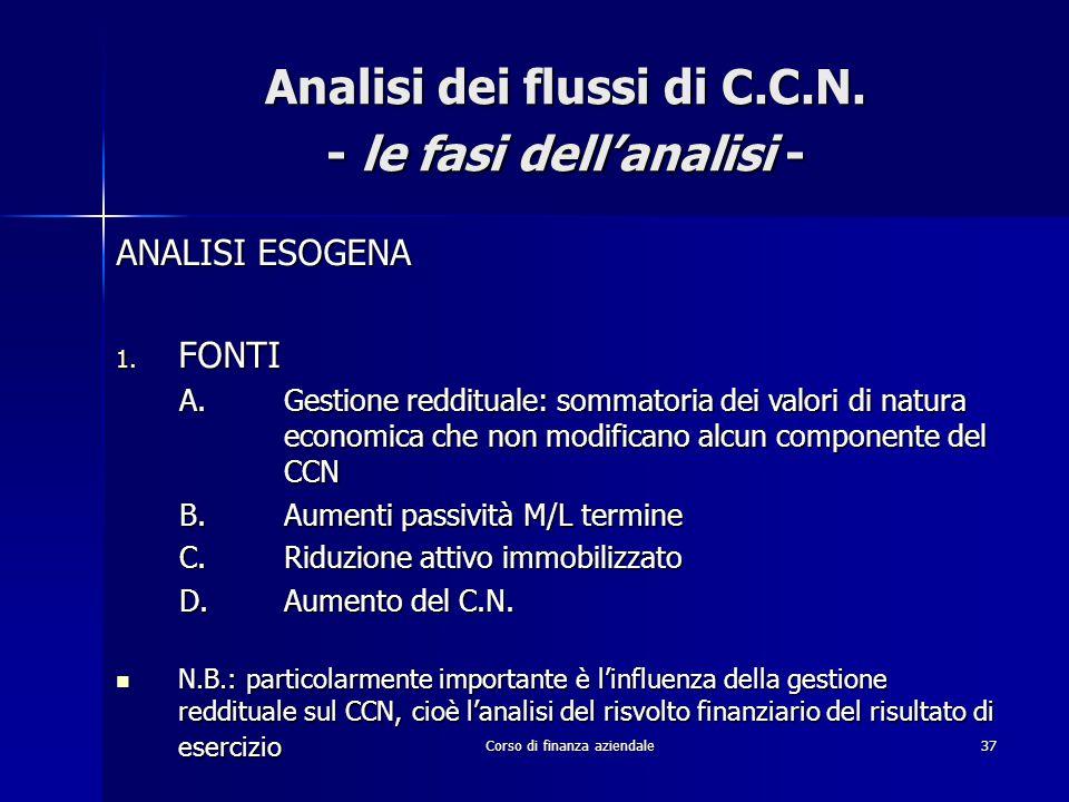 Corso di finanza aziendale37 Analisi dei flussi di C.C.N. - le fasi dell'analisi - ANALISI ESOGENA 1. FONTI A.Gestione reddituale: sommatoria dei valo