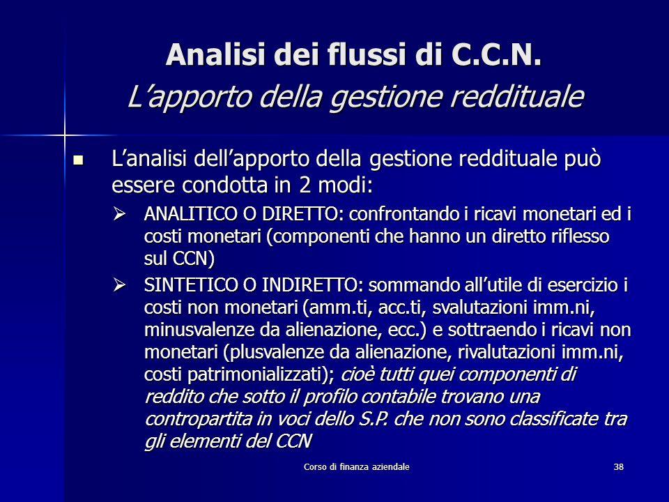 Corso di finanza aziendale38 Analisi dei flussi di C.C.N. L'apporto della gestione reddituale L'analisi dell'apporto della gestione reddituale può ess